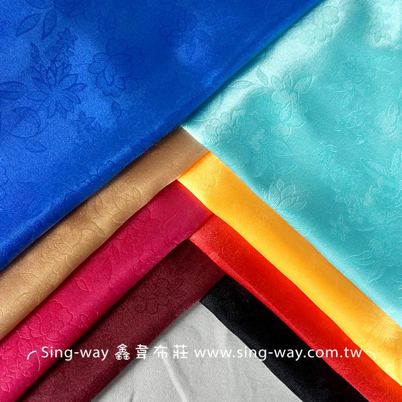 荷花壓紋 亮面 緞面 節慶裝飾 桌巾 表演舞台禮服 服裝布料 LD690028