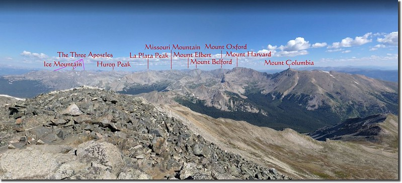 Looking Northwest from the summit of Mount Yale 3