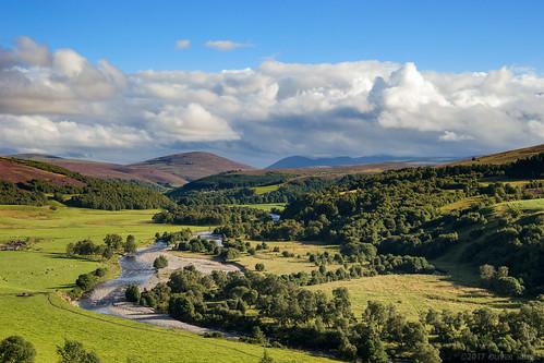 2017 oru uk scotland cairngorms tomintoul landscape highlands river glenlivet riveravon avon green clouds cloudscape autumn fall bobdylan