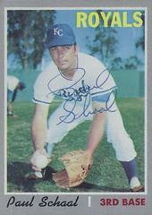 1970 Topps - Paul Schaal #338 (Third Base) - Autographed Baseball Card (Kansas City Royals)