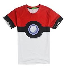 8bit Style Pokeball Pattern 3D T-shirt
