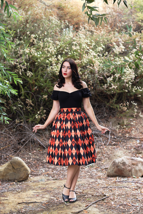 Vixen by Micheline Pitt Ben Cooper Trick R Treat Print Vixen Swing Skirt