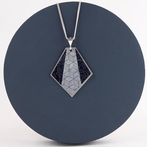 Paper and Silver Necklace Pendant by Circle and Dash