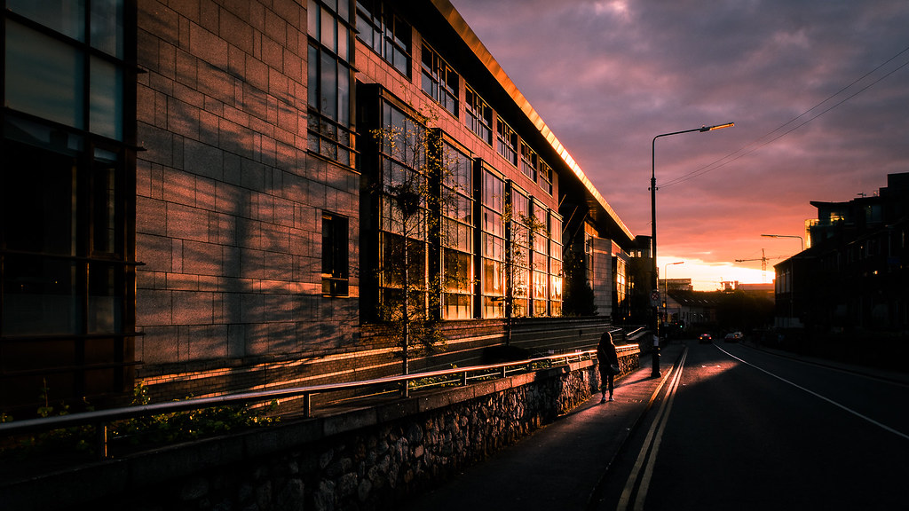 Sunset on bridge street, Dublin, Ireland picture
