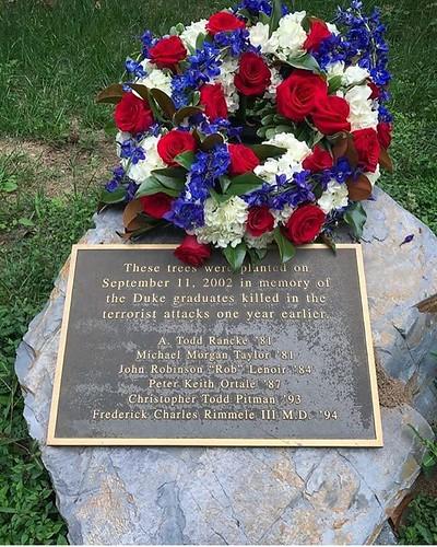 Today we remember those lost in the 9/11 attacks, including the #dukealumni honored in the memorial grove outside Keohane residential quad. #pictureduke #dukealumni #foreverduke // PC: @dukealumni