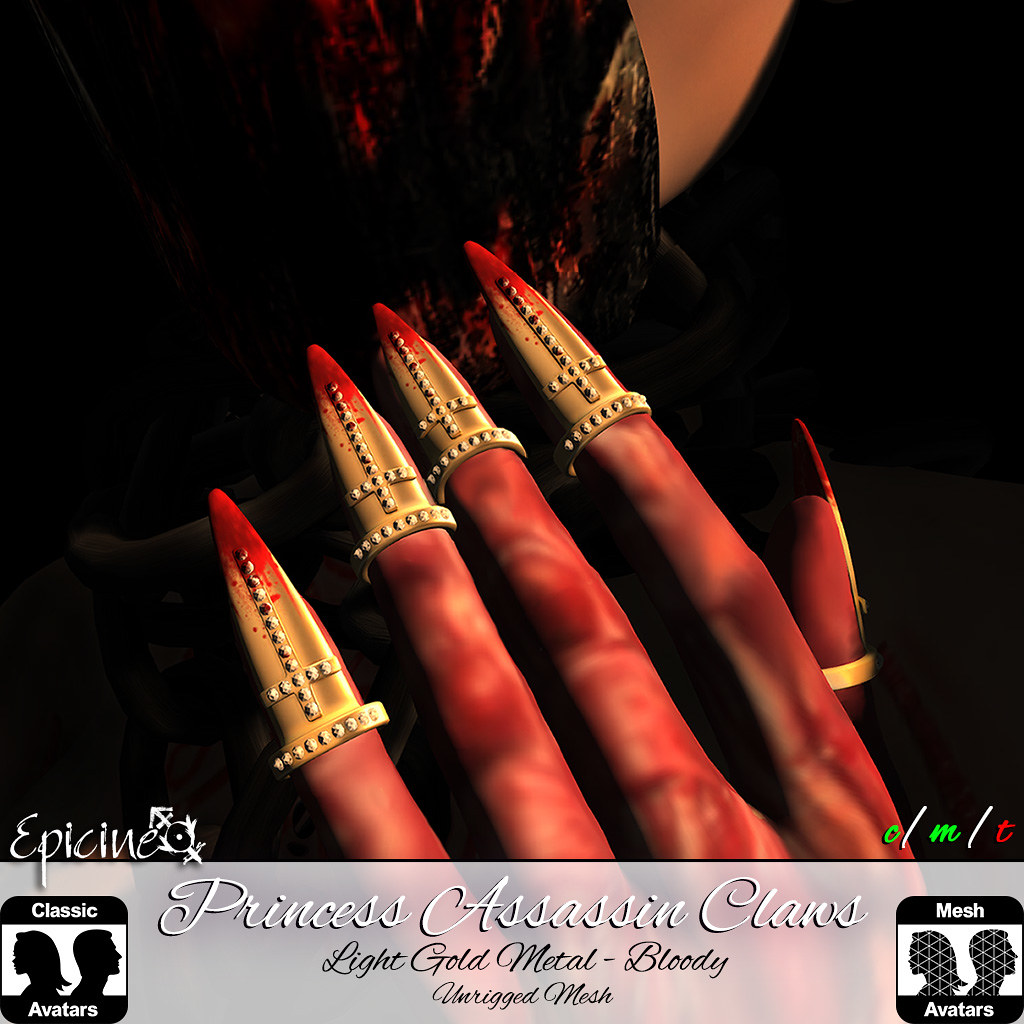 Epicine – Princess Assassin Claws – Light Gold Metal – Bloody Version
