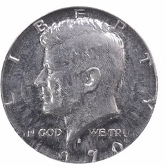 Proof 1970-S Kennedy half struck on aluminum token obverse