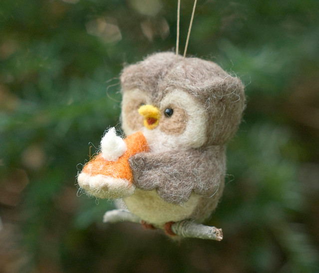 Owl eating pumpkin pie