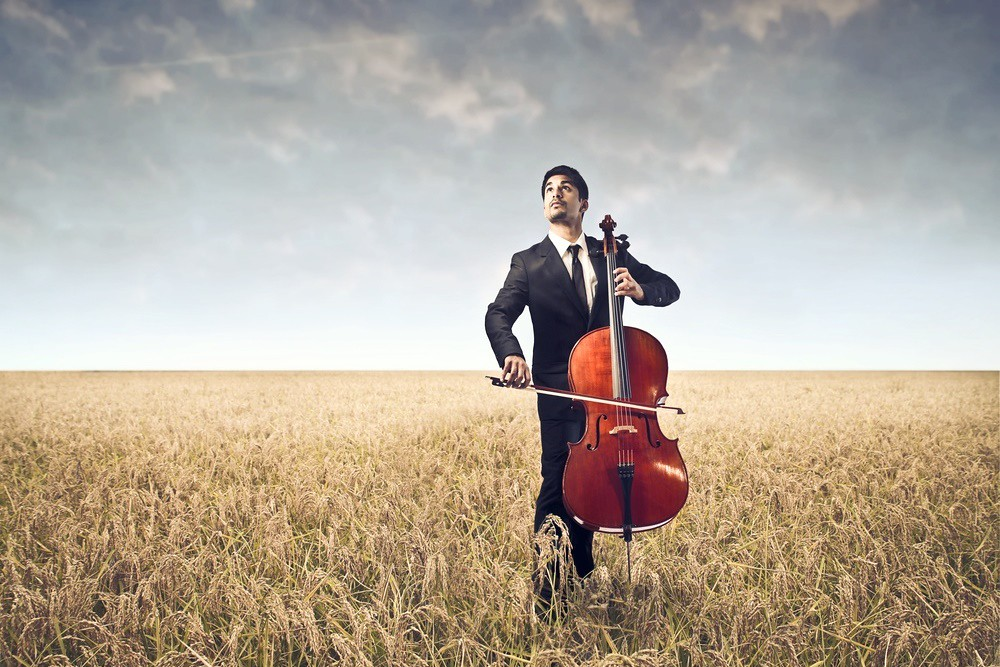 Image of cellist playing alone in wheat field