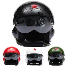 Motorcycle Scooter Helmet Air Force Jet Pilot Flight Double Lens Size L (982460) #Banggood