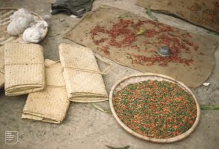 Red and green peppers. 1 measure = 1 mudu  -  a standard metal bowl. Sleeping mats. Cotton. Minna Nigeria
