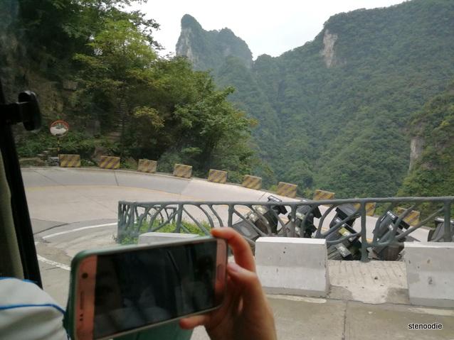 Sharp corners on Tianmen Mountain roads