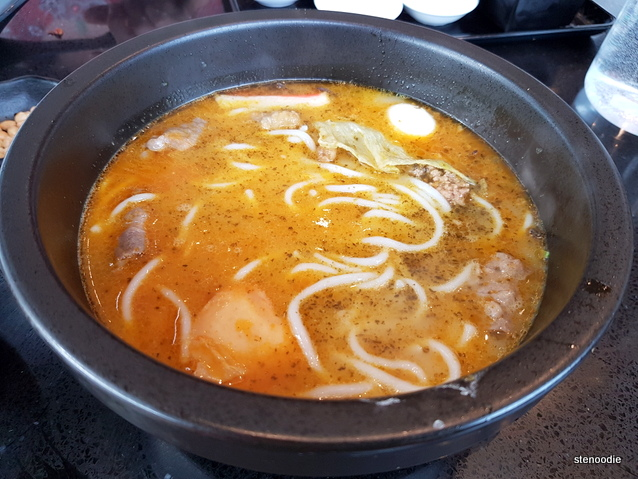 Sour & Spicy Flavoured Crossing the Bridge Rice Noodle Soup with Beef Slices