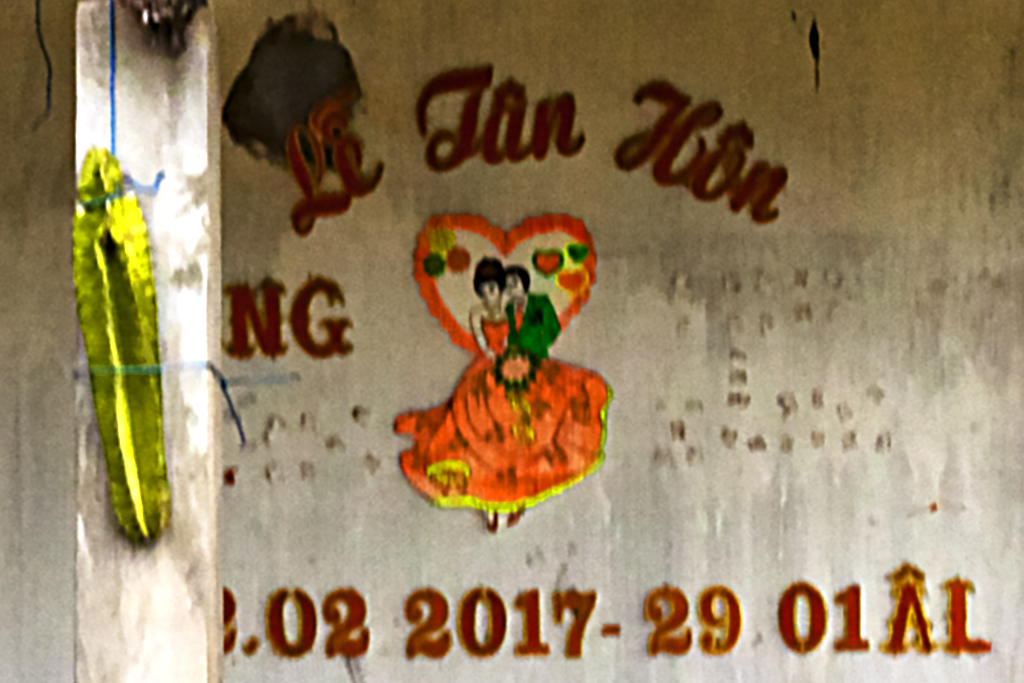 House with satellite disc and wedding announcement--Thuan Nam (detail)