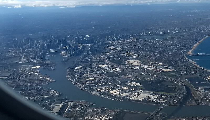 Flying over Melbourne, approaching Tullamarine Airport