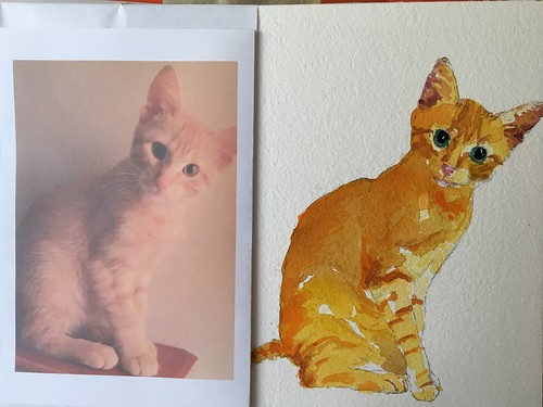Step by step watercolor kitty