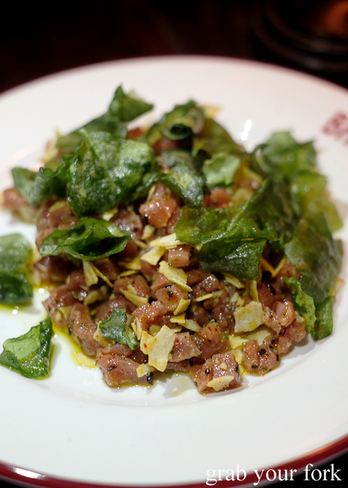 Veal tartare at Bridge Bon Appetit in Restaurant Hubert in Sydney