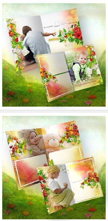 Photobook for Photoshop in PSD, children's, childhood smells like flowers