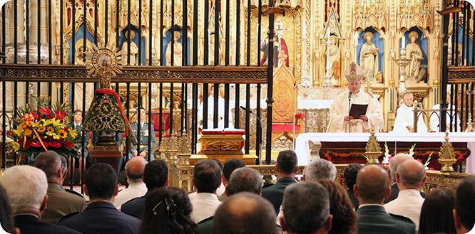 El Obispo de Cartagena pide a la Virgen del Pilar la unidad de España