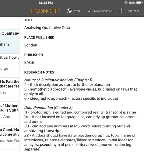 Endnote iOS application for viewing research notes on the go