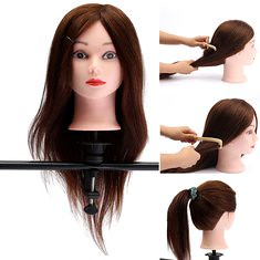 "20"" Brown 90% Human Hair Hairdressing Training Head Mannequin Model Braiding Practice Salon Clamp (1111877) #Banggood"