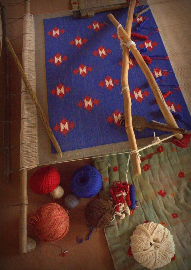 Camel wool carpet weaving in rural Rajasthan homestay in Salawas
