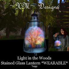 ~XM~ Light in Woods Stained Glass Lantern WEARABLE PHOTO