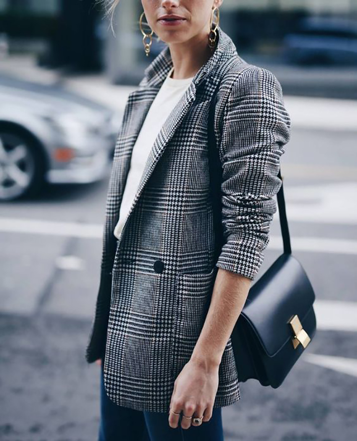 plaid blazer street style trend style outfit 2017 accessories denim2