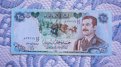 This Iraqi  Banknote is now a piece of History 💸🍃 Paper Currency Paper Money Iraq Central Bank Men Portrait Saddam Saddam Hussein Fallen Regim Arab Spring Middle East Money Power Conflict Tension Gulf War Dinar Yesterday Gone With
