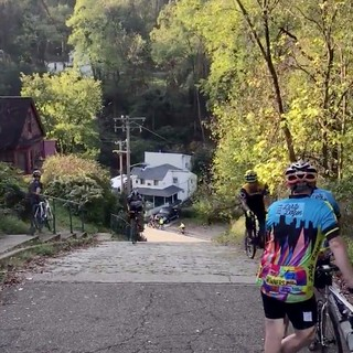 My (center left) first time riding up the steepest street on the planet: Canton Ave! Yow!