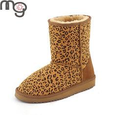 MG New Winter Women Real Sheepskin And Wool Low Heel Shoes Warm Mid-calf Snow Boots (1001289) #Banggood