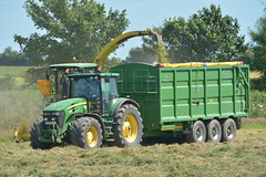 John Deere 7550 SPFH filling a Broughan Engineering Mega HiSpeed Trailer drawn by a John Deere 7930 Tractor