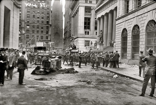 Socialist terrorism on Wall Street. The explosion killed and injured dozens in the financial district on September 16, 1920. A horse wagon loaded with dynamite and iron shrapnel blew up in front of the J.P. Morgan bank at 23 Wall Street. New York.