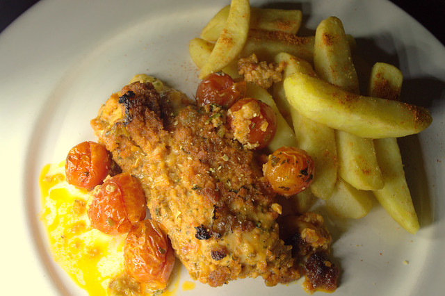 Chicken Breast with Sundried Tomato Pesto & Parmigiano Reggiano and Triple Cooked Chips with Duck Fat
