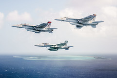 Aircraft from Carrier Air Wing 17 fly over Wake Island, Oct. 26. (U.S. Navy/Lt. Aaron B. Hicks)