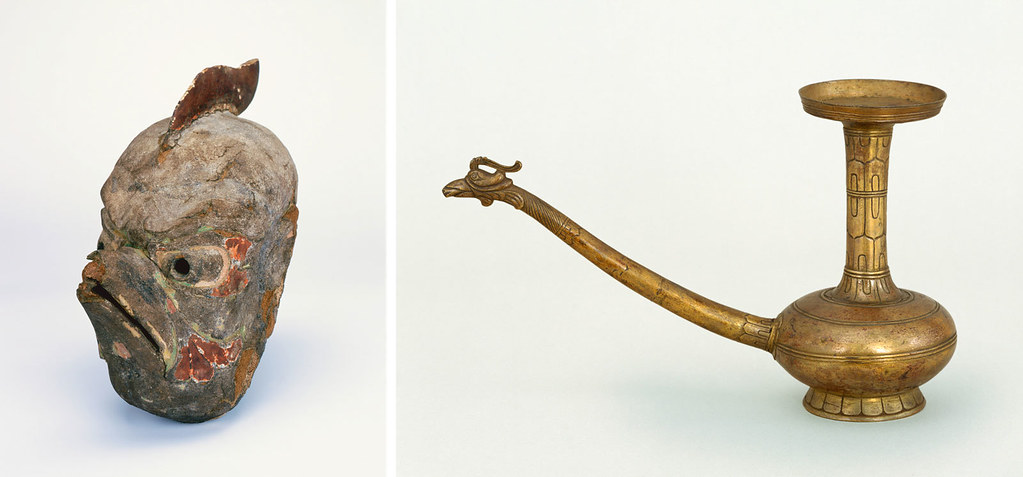 左)《伎楽面 迦楼羅》(南倉) 右)《金銅水瓶》(南倉)