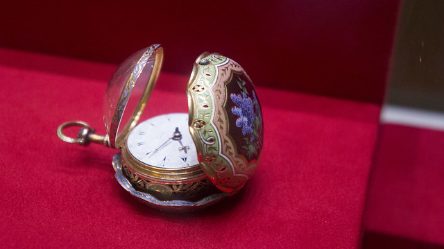 Golden painted pocket watch at Egypt's Royal Jewelry Museum