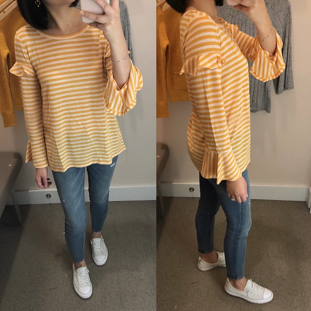 LOFT Striped Ruffle Bell Sleeve Tee, size XS regular