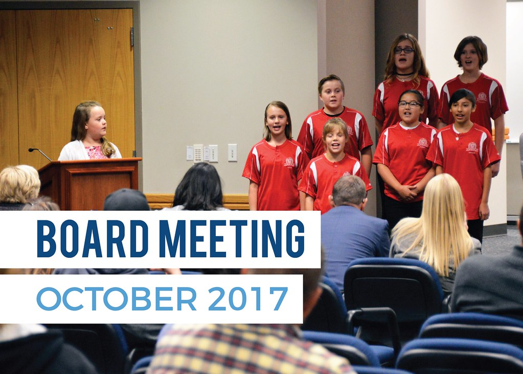 Vista Elementary Lighthouse Team sings during board meeting with text 'Board Meeting October 2017'