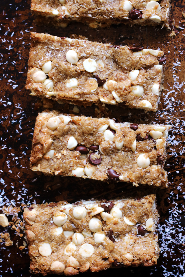 Brown Butter, Coconut, Chocolate Chip Cookie Bars