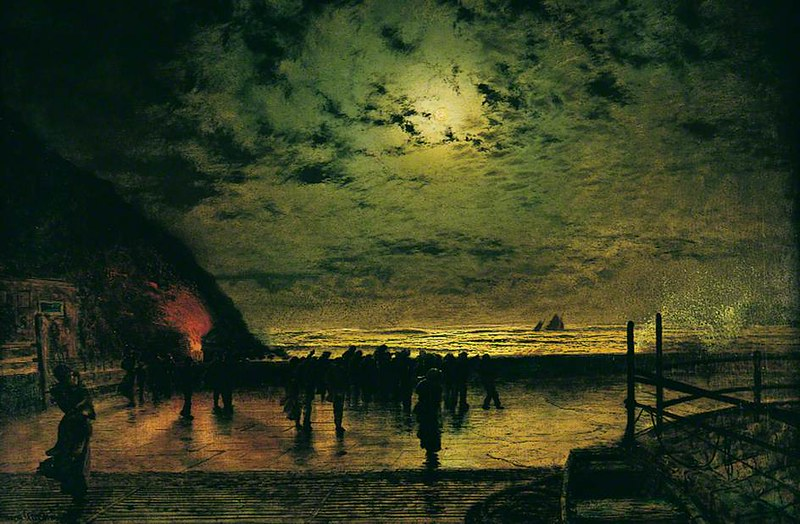 Burning Off, a Fishing Boat at Scarborough by John Atkinson Grimshaw, 1877