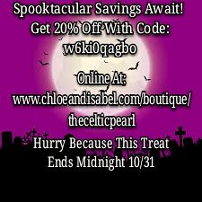 Get 20% Off Your Order When You Use Code: w6ki0qagbo Online At: www.chloeandisabel.com/boutique/thecelticpearl Now Through Midnight 10/31  #Halloween #October #Fall #Sale #Save #Savings #Code #jewelry #fashion #accessories #style #shopping #shop #trendy #
