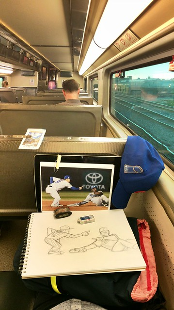 Continuing the #NLCS #Cubs #Dodgers drawing of @javy23baez and @yasielpuig on the #Metra