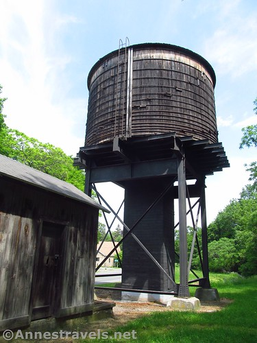 The old wooden water tower in Orleans along the Ontario Pathways Rail Trail, New York