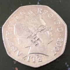 50p coin with swastika counterstamp