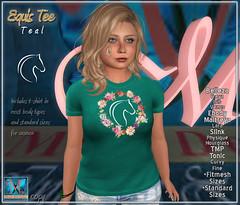 .::MD::. Equis T-shirt Teal - Slink, Maitreya, Belleza, Tonic, TMP, Ebody, Fitmesh, standard sizes  Tee for SL Female Avatars