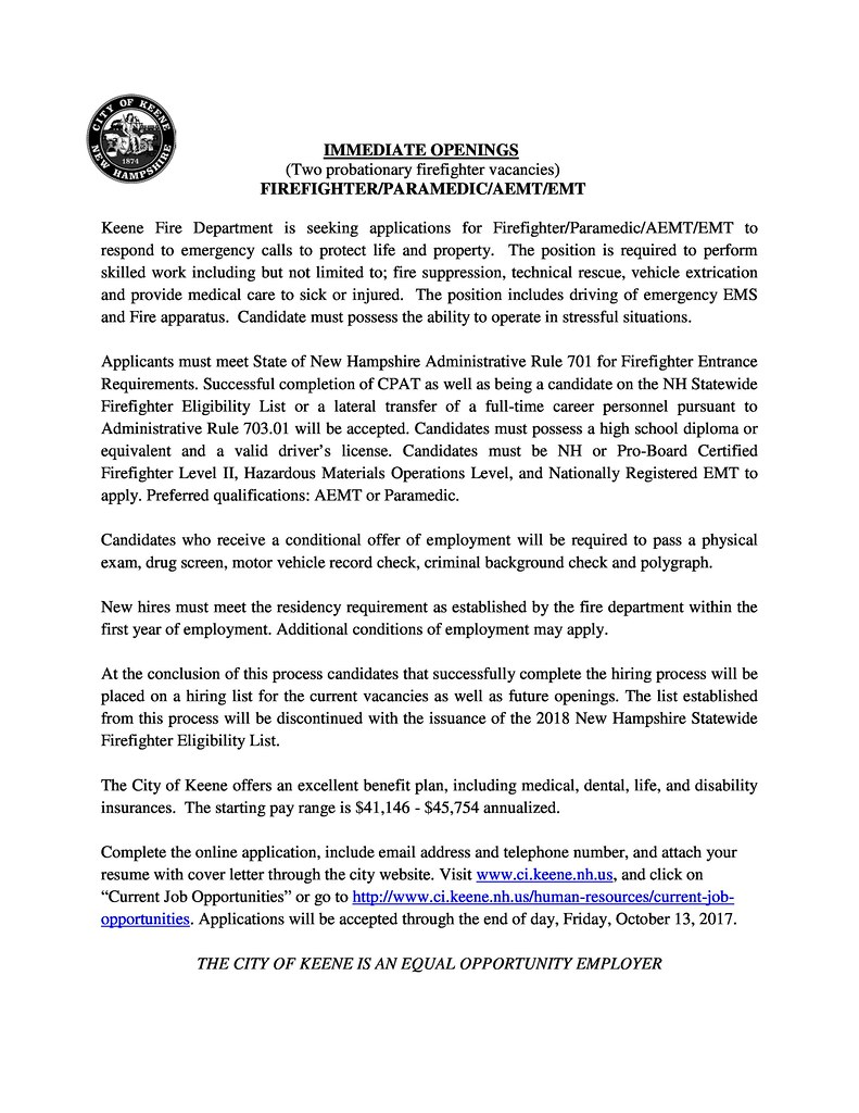 City of Keene Firefighter Posting immediate openings-page-0
