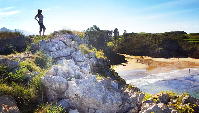 Overlooking a beach near Llanes, Spain