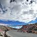 藏人在路旁掛滿祈福的五色旗/風馬旗