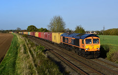 'Sheffield United' During a patch of glorious sunshine 66726 passes Langham with 4L22 Hams Hall to Felixstowe
